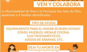 MUNICIPIO DE TENO INVITA A SUMARSE A CAMPAÑA PARA IR EN AYUDA DE AFECTADOS POR INCENDIOS EN VALPARAISO