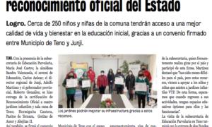 JARDINES INFANTILES DE TENO RECIBEN RECONOCIMIENTO DEL ESTADO