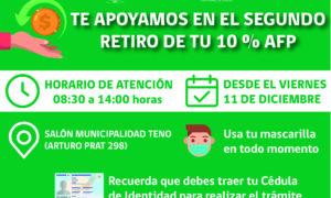 MUNICIPIO DE TENO ASESORARA A VECINOS EN SEGUNDO RETIRO 10%